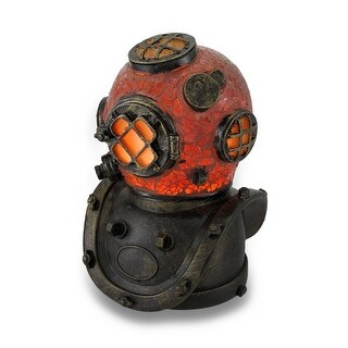 Deep Sea Diver Helmet Crackled Glass Accent Lamp 8 Inches Tall - Orange