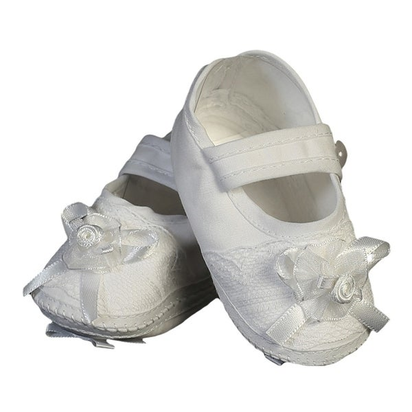 Baby Girls White Cotton Christening Bootie Soft Sole Crib Shoes