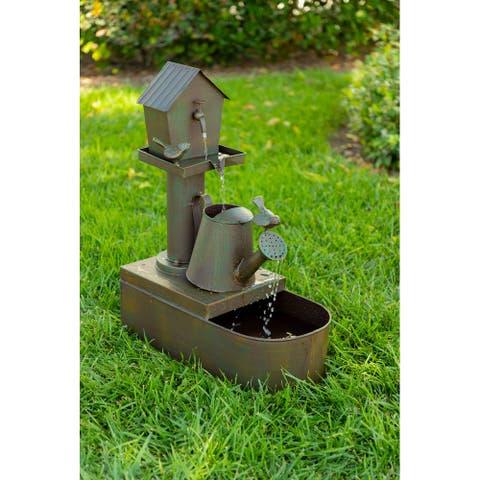 "Alpine Corporation 24"" Tall Indoor/Outdoor Birdhouse and Watering Can Floor Water Fountain"