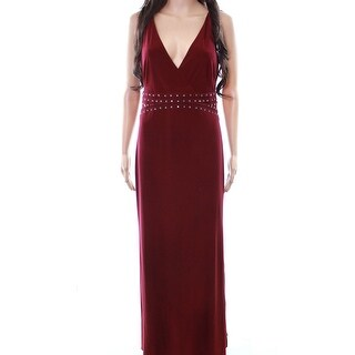 Laundry By Shelli Segal NEW Garnet Red Women 4 Embellished Gown Dress