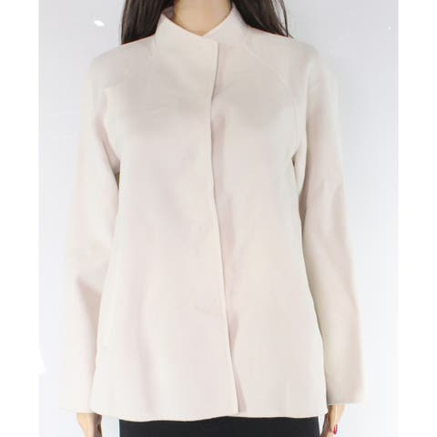 Max Mara Women's Jacket Coat White Ivory Size 6 Snap-Front Wool