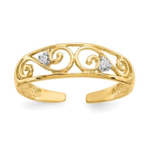 14K Yellow Gold .02ct Diamond Scroll Toe Ring By Versil