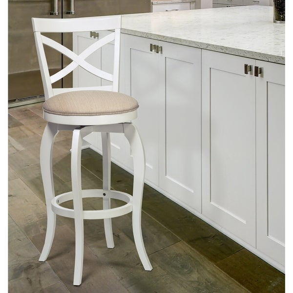 The Gray Barn Chatterly White and Beige Swivel Wood Stool. Opens flyout.