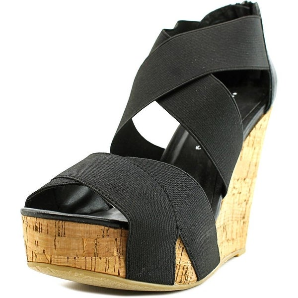 Chinese Laundry Dig It Women Open Toe Canvas Black Wedge Sandal