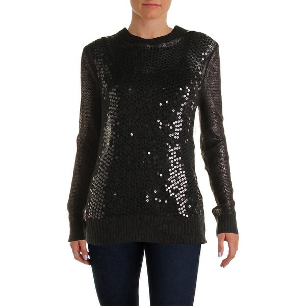 MICHAEL Michael Kors Womens Pullover Sweater Wool Blend Sequined