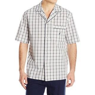 Nautica NEW Beige Mens Large L Plaid Short Sleeve Nightshirt Sleepwear