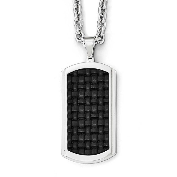 Chisel Stainless Steel Polished Leather Inlay Dogtag Necklace - 24 in