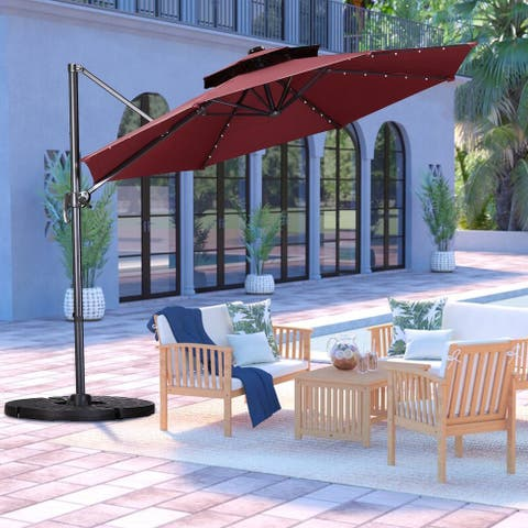 Zenova 11Ft 360 Rotation Outdoor Parasol umbrella balcony outdoor Roman umbrella