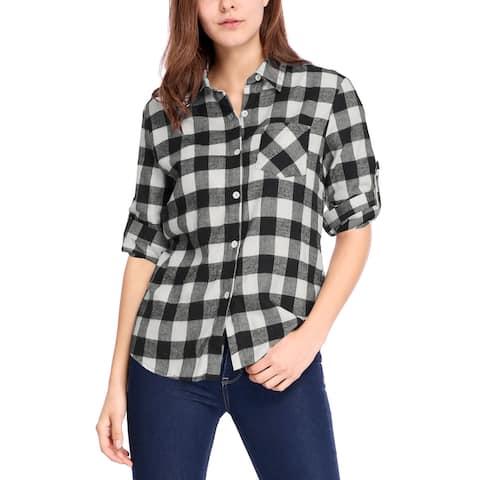 Woman Roll Up Sleeves Buttoned Boyfriend Plaids Shirt