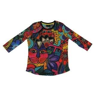 Laurel Burch Laurel's Garden Colorful 3/4 Sleeve Tee Shirt