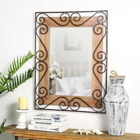 """Glitzhome 38""""H Oversized Traditional Rectangle Wooden Scroll Wall Mirror - 38.98""""H"""