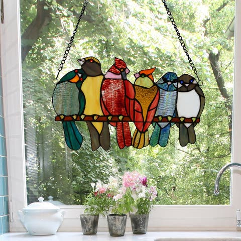 """River of Goods 9.5""""H Birds in Love Stained Glass Window Panel - 15""""L x 0.25""""W x 9.5""""H"""