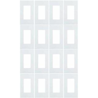 Leviton 80301-SW 1-Gang Decora Plus Wallplate Screwless Snap-On Mount (16 Pack) - White