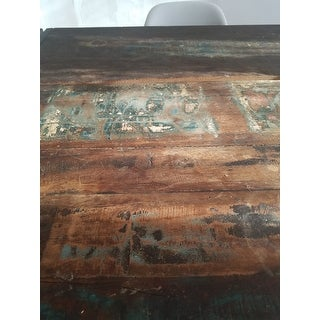 Handmade Timbergirl Old Reclaimed Wood Dining Table with Iron Legs (India)