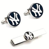 New York Yankees Cufflinks and Tie Bar Gift Set MLB - navy