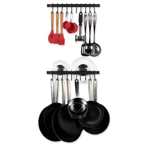 """Wallniture Casto 17"""" Pot Rack Set of 2, Utensil Holder with 20 S Hooks, Iron, Black"""
