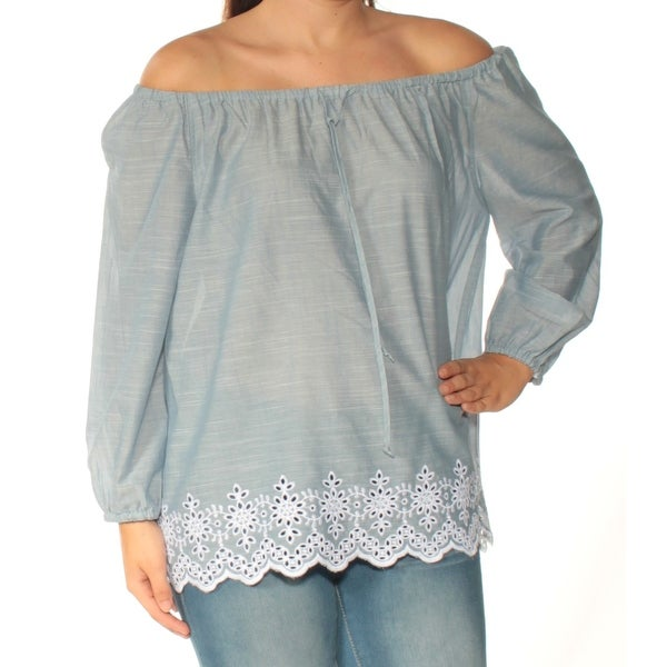 43d991de9e3c04 Shop NYDJ Womens Blue Embroidered Long Sleeve Off Shoulder Top Size: S -  Free Shipping On Orders Over $45 - Overstock - 23452629