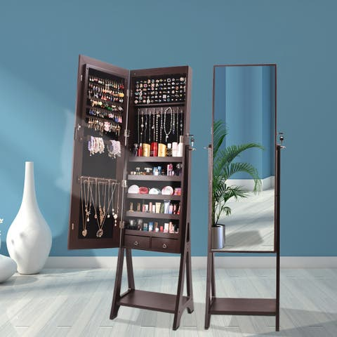 Full Mirror Makeup Storage Jewelry Mirror Cabinet