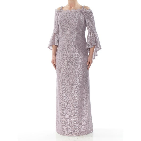 R&M RICHARDS Womens Purple Lace Gown Bell Sleeve Off Shoulder Full-Length Evening Dress Size: 6