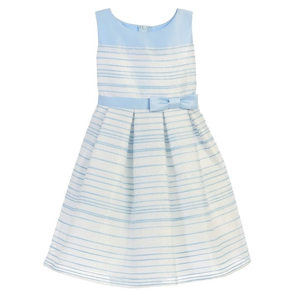 15ed0d16b Shop Girls Light Blue Striped Woven Satin Easter Dress 7-12 - Free Shipping  Today - Overstock - 18165921