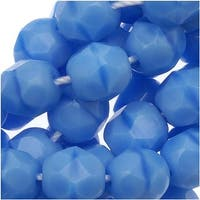Czech Fire Polished Glass Beads 6mm Round Blue Turquoise (25)
