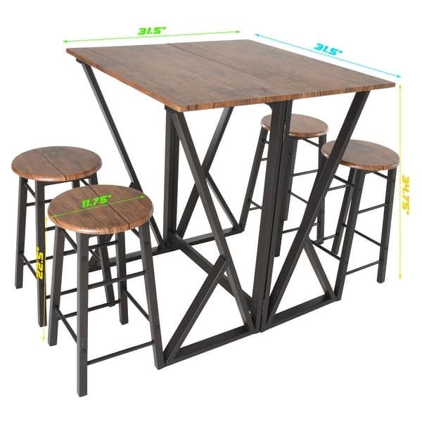 Shop Zenvida 5 Piece Pub Dining Set Drop Leaf Bar Height ...