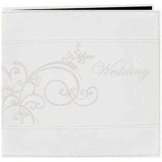 """Pioneer Embroidered Scroll Leatherette Post Bound Album 12""""X-White - White"""