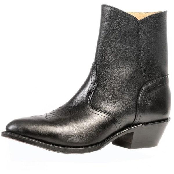 Boulet Western Boots Mens Cowboy Dress Zip Sporty Black Deertan