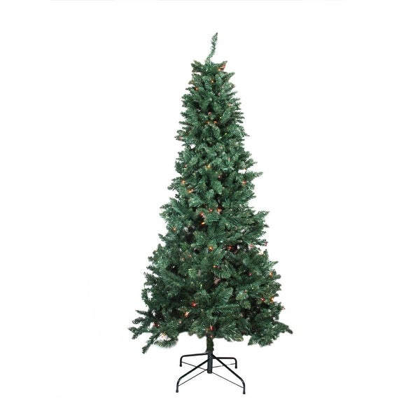 7.5' Pre-lit Slim Pine Artificial Christmas Tree - Multi-Color Lights - green