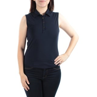 Womens Navy Sleeveless Collared Casual Tunic Top Size S