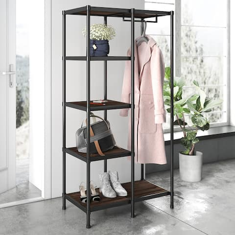 Priage by ZINUS Brown Wood and Metal 63 Inch Etagere Bookcase