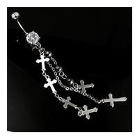 "Multi Cross + Hematite Bead Dangle Navel Belly Button Ring with CZ - 14 GA 3/8"" Long"