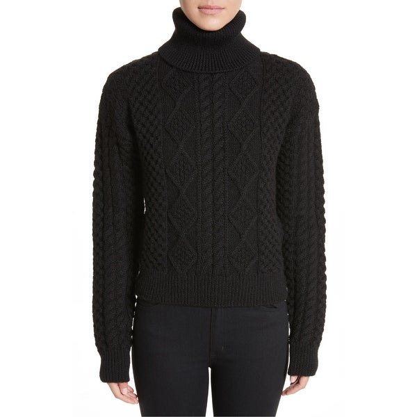 Shop SAINT LAURENT Black Womens Size Large L Turtleneck Wool Sweater ... 7db2d33b6