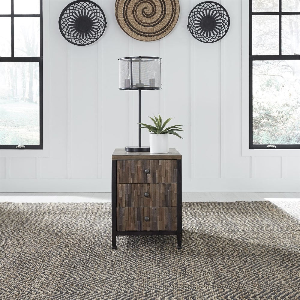 Harvest Home Barley Brown Chair Side Table (Veneer/Wood)