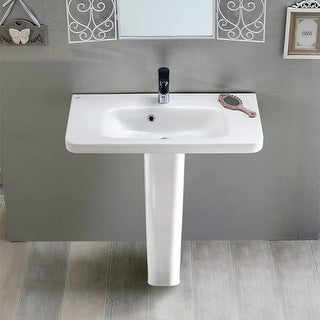 "Nameeks 033300U-PED Cerastyle 31-1/2"" Ceramic Pedestal Bathroom Sink - Includes Overflow"