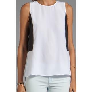 Parker NEW White Black Women's Size Large L Colorblocked Blouse Silk