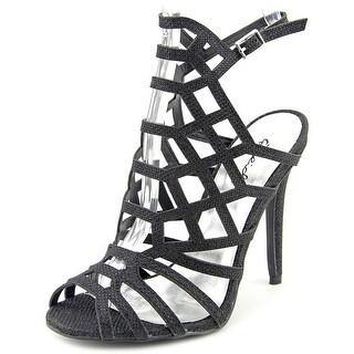 Qupid Ara-77 Women Open Toe Canvas Black Sandals