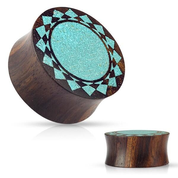 Crushed Turquoise Tribal Sunburst Inlaid Organic Sono Wood Flared Saddle Plug (Sold Ind.)