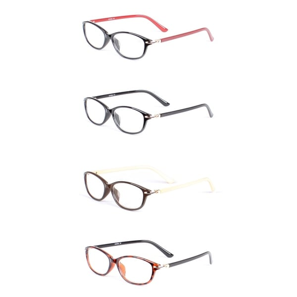 Two Tone Oval Reading Glasses, 4 pairs - Assorted