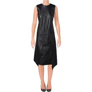 DKNY Womens Pieced Casual Dress Leather Sleeveless