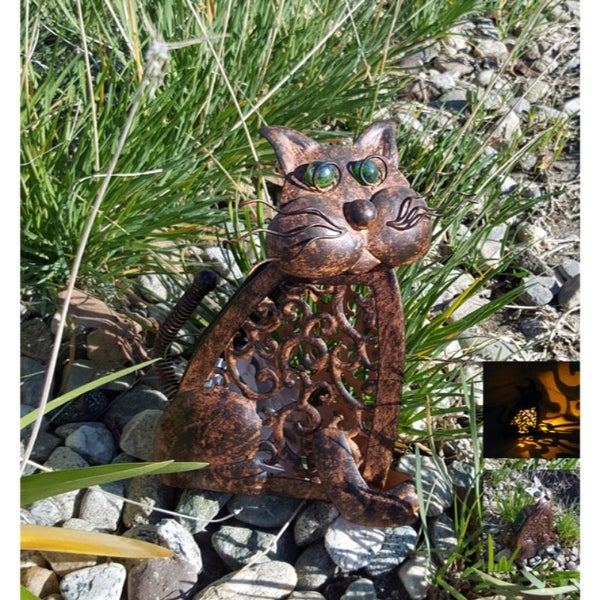 Metal Antique Color Cat With Amber Led Solar Light Free Shipping On Orders Over 45 23536247