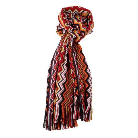 Missoni Earth Tones Long Zigzag Fringe Scarf - 16-71