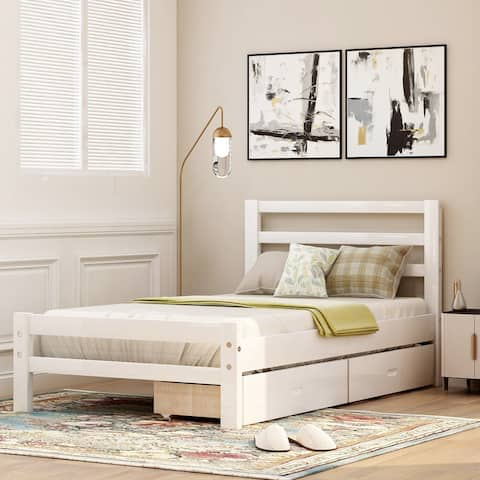 AOOLIVE Pine Wood Platform Bed with Two Drawers, Twin, White