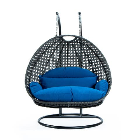 LeisureMod Charcoal Wicker 2 person Double Hanging Egg Swing Chair