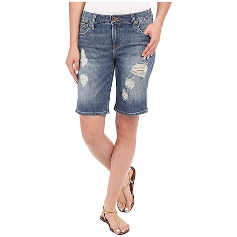 Kut from the Kloth Blue Womens 0 Catherine Boyfriend Denim Shorts