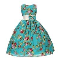 Little Girls Teal Red Rose Print Bow Attached Flower Girl Dress 2T-6