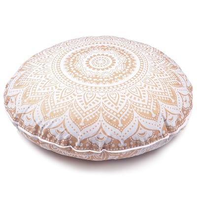 Oussum Home Decoration Pillows Golden Mandala Floor Cushion Pillow Throw Decorative Cotton Pillowcase