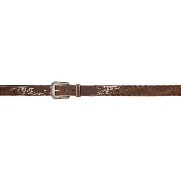 3D Belt Mens Western Leather Lacing Moc Stitching Antique Brown