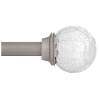 """Kenney KN75300 Walden Crackled Glass Ball Finial Curtain Rod, Pewter, 28"""" - 48"""""""