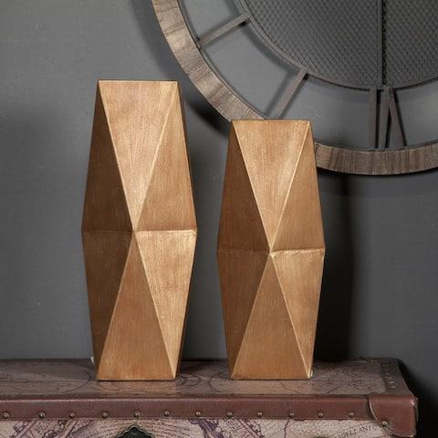 2-Piece Gold Metal Vase Set